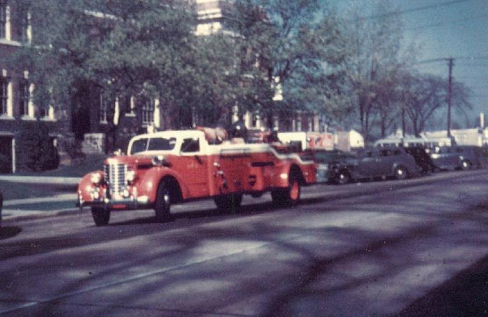 This remarkable 1943 photo by Don Steele was scanned from a 35mm slide that Don took of Hamden's 1941 Diamond-T ladder truck as it passed by the town hall on Dixwell Avenue.  This is the oldest color photograph posted thus far. (Courtesy of the Hamden Historical Society)