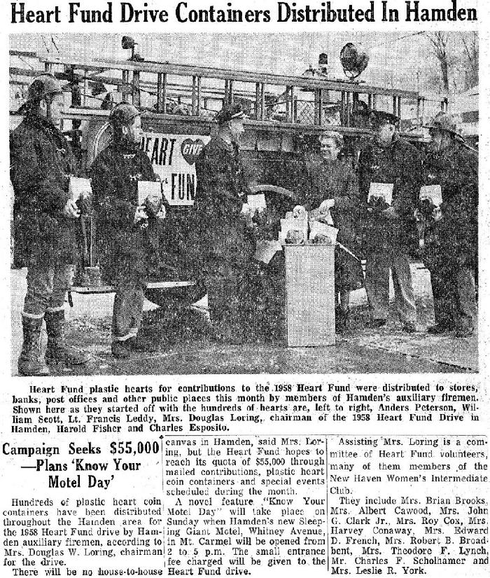 "February 20, 1958 - The 1930 Maxim pumper, now the department's spare housed at Mt. Carmel, was once again the backdrop for career and volunteer firefighters who contributed their time to the annual Hamden Heart Fund Drive.  Francis ""Chalky"" Leddy and Charlie Esposito served as career members for 40 years and 30 years respectively.  Bill Scott was also a Hamden career firefighter for a time in the 1960s."