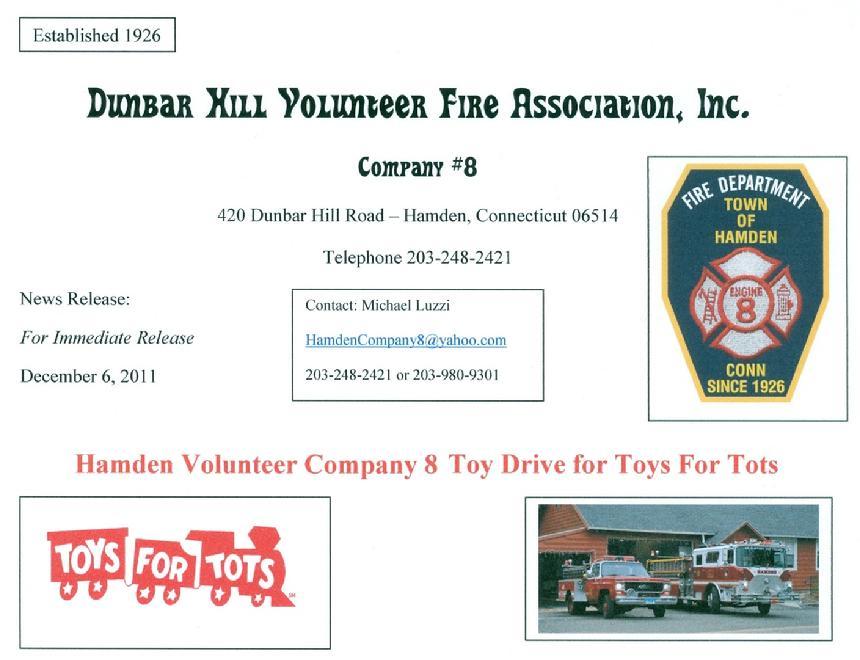 Toys For Tots Volunteer : Hamden fire retirees association inc