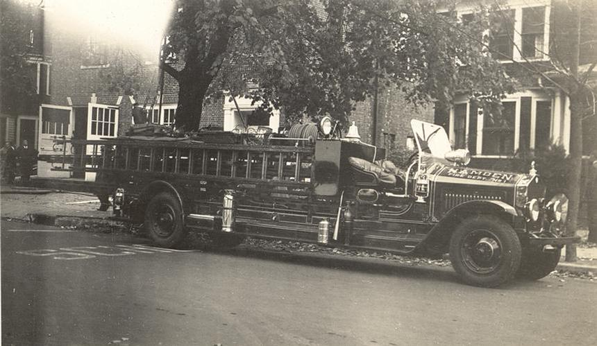 This truck was totaled in 1940 when it was struck by a trolley car at the corner of Dixwell Avenue and Mather Street.  The driver was not seriously injured.  (Photo by G. Donald Steele)